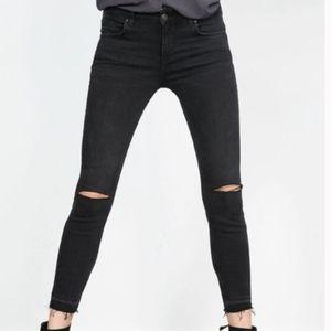 Zara Gray Black Moto Ripped Knee Skinny Jeans